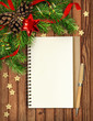 Christmas decorations poinsettia flowers and notepad - 233459274