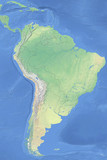 Physical map of South America - detailed topography based on WGS84 coordinate system