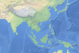 Physical map of countries in South East Asia - detailed topography in geographic coordinate system