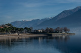 Como Lake landscape, cold winter day on a deserted beach. Italy - 233465075