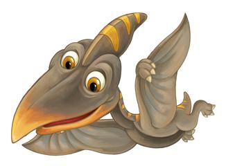 cartoon scene with flying dinosaur - pterodactyl on white background - illustration for children