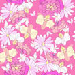 beautiful pink flowers , on a white, pattern - 233472016