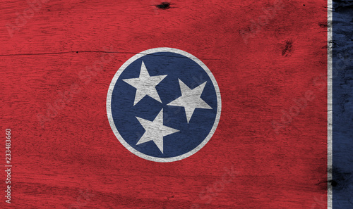 Flag Of Tennessee On Wooden Plate Background Grunge Texture A Blue Circle