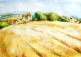 Watercolor countryside landscape. Wheat field in Provence. Beautiful view, field, village, wild grass, flowering meadow. Fashion art illustration, logo, card.  Autumn landscape harvesting.