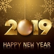 Happy New Year or Christmas greeting card with golden ball and snowflakes. 2019 Vector