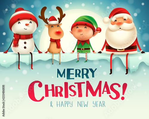 Santa Claus, Reindeer and Elf with big signboard. Merry Christmas calligraphy lettering design. Creative typography for holiday greeting. © ori-artiste