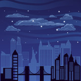 cityscape with buildings scene night © djvstock