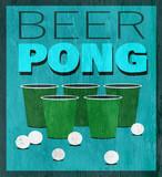 beer pong design on wood grain texture - 233487608