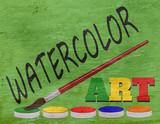 watercolor design on wood grain texture - 233489211