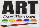 art from the heart design on wood grain texture - 233489255