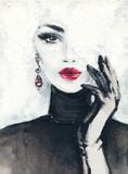beautiful woman. fashion illustration. watercolor painting - 233492013