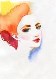 beautiful woman. fashion illustration. watercolor painting - 233492025