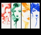 beautiful woman. fashion illustration. watercolor painting - 233492048