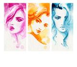 beautiful woman. fashion illustration. watercolor painting - 233492069