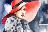 beautiful woman. fashion illustration. watercolor painting - 233492092