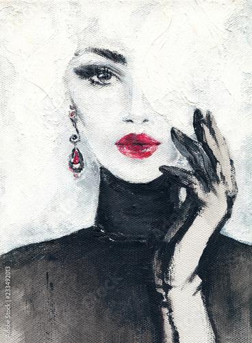 Fototapety, obrazy : beautiful woman. fashion illustration. watercolor painting