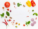The ingredients for homemade pizza on white wooden background. - 233503237
