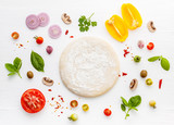 The ingredients for homemade pizza on white wooden background. - 233503250
