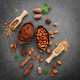 Cocoa powder and cacao beans on stone background. - 233503282