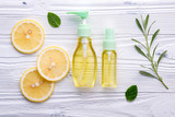 Natural herbal skin care products. Skin care ingredients on table concept of the best all natural face moisturizer. Facial treatment preparation background. - 233503605