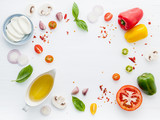 The ingredients for homemade pizza on white wooden background.. - 233504061