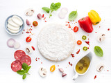 The ingredients for homemade pizza on white wooden background.. - 233504069