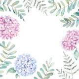 Wedding floral frame with eucalyptus branch, fern and hydrangea. Watercolor hand drawn illustration - 233507655