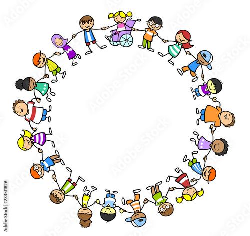 Leinwandbild Motiv Integration und Inklusion durch Gruppe Kinder
