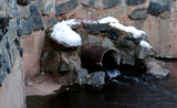 Sewer drain from pipes during the winter. - 233513437
