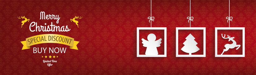 Red Ornaments 3 Frames Christmas Sale Angel Header