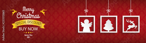 Red Ornaments 3 Frames Christmas Sale Angel Header © Alexander Limbach