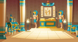 Vector cartoon pharaoh tomb with golden sarcophagus, statues of gods with animal heads, columns, symbols and hieroglyphics on wall. Egyptian ancient culture, mythology and religion, concept background - 233515815