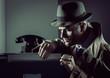 Leinwanddruck Bild - Undercover spy stealing files