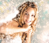 Merry Christmas: Beautiful  blonde woman with angel wings, stars and snowflakes :) - 233519211