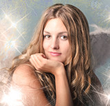 Merry Christmas: Beautiful  blonde woman with angel wings, stars and snowflakes :) - 233520237