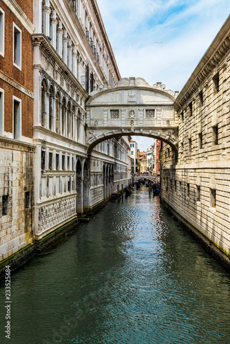 Bridge of Sighs in Venice, Italy. This bridge connects the prison cells to the interrogation rooms of the Doge's palace and was the last view prisoners saw before being imprisoned, hence the name.