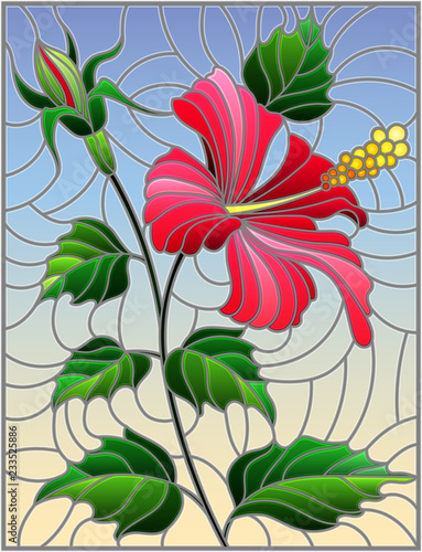 Illustration In Stained Glass Style With Flower Buds And Leaves Of