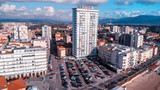 Panoramic aerial view of Follonica, Italy. Coastline of Tuscany with town and ocean - 233526622