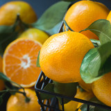 Fresh mandarins with leaves. Healthy eating concept. Close up. - 233528076
