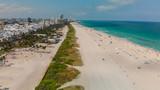 Aerial view of Miami Beach skyline and coastline on a sunny day, Florida - 233528423