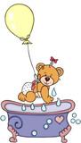Baby teddy bear with balloon and bathtub - 233531844