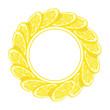 lemon frame, illustration isolated on white background, line art decorative lemon frame for design cosmetic, natural medicine, herbal tea, food menu - 233532870