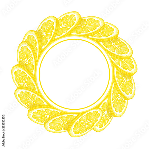 lemon frame, illustration isolated on white background, line art decorative lemon frame for design cosmetic, natural medicine, herbal tea, food menu - 233532870
