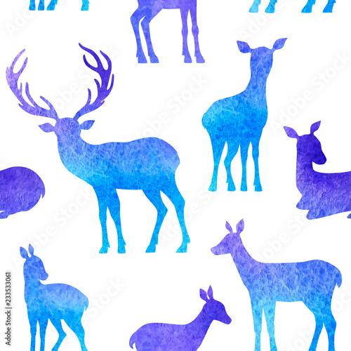 fototapeta na ścianę Blue deer seamless pattern