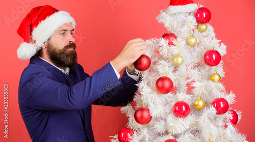 2d842f8d6cab8 Christmas atmosphere spread around. Add magic to holidays. Man bearded wear  formal suit and