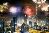 fireworks around Burj Khalifa - exotic New Year destination, Dubai, UAE