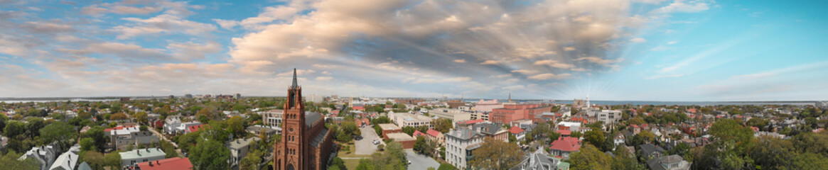 Panoramic aerial view of Savannah skyline at sunset, Georgia, USA © jovannig