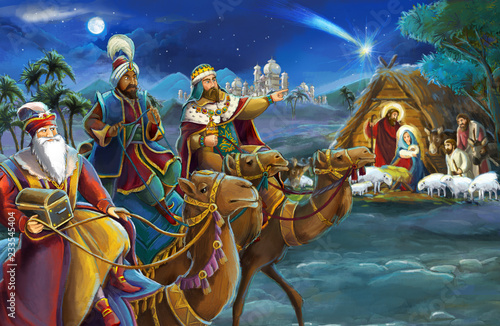 Leinwandbild Motiv religious illustration three kings - and holy family - traditional scene - illustration for children