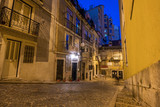 Night shot of city street near Dom Luis I bridge in Porto, Portugal