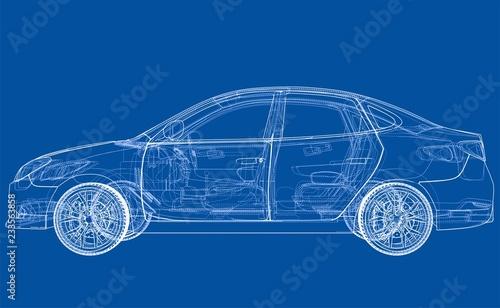 Samochód koncepcyjny. Wektorowy rendering 3d